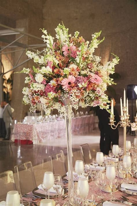 Wedding Table Decor Flowers by High Vase Pastel Flowers Centerpiece Flowers Colors Chic