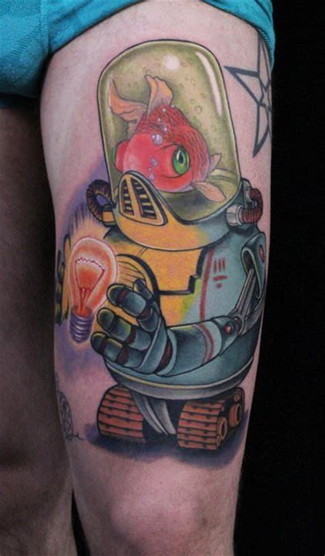 tattoo by cartoon a robot with a goldfish brain holds a glowing light bulb