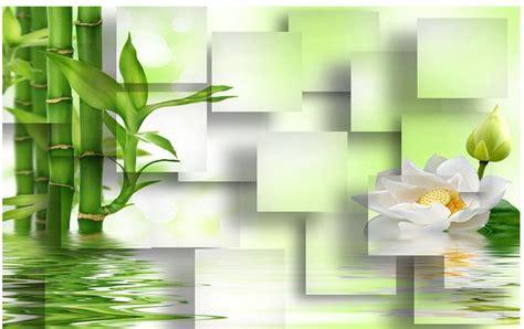 Wallpaper Sticker Motif Bambu Hijau non woven wallpaper bailian lotus bamboo grid mural