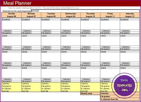Meal Planner Template Excel Templates Excel Spreadsheets Excel Templates Excel Spreadsheets Meal Planner Template Excel
