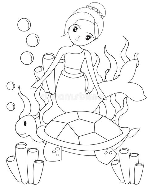 girl turtle coloring page the mermaid and the turtle coloring page stock