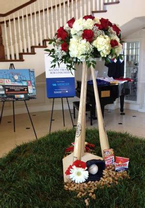 baseball theme table centerpieces baseball bat wedding reception table centerpiece with home