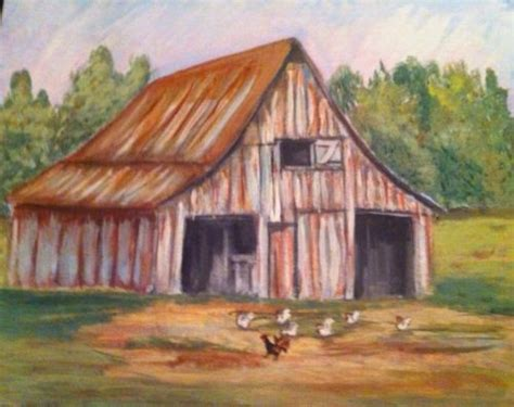 country farm paintings with barn original country farm landscape barn chickens paintings