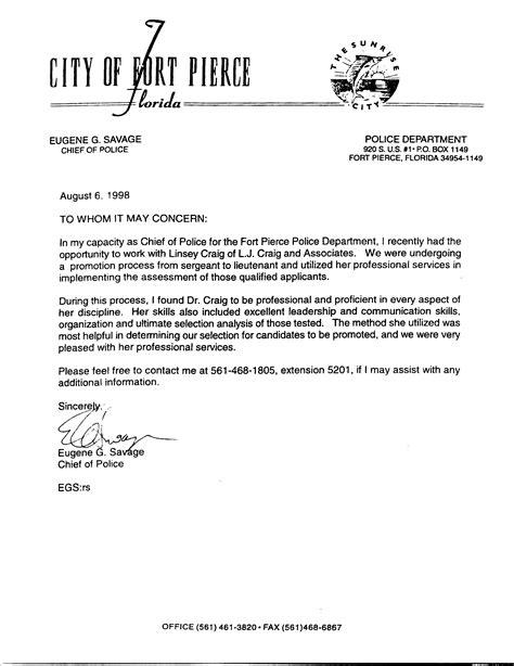 Sample Letter Of Recommendation For Police Officer Job