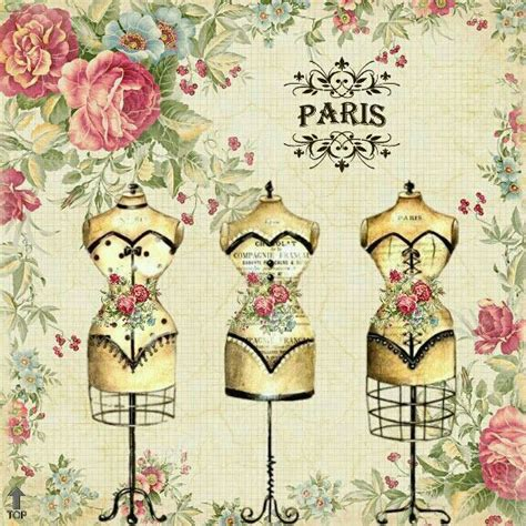 Vintage Poster 60x40cm Motif Kayu 53 transfert thermocollant motif mannequins roses couture coussins shirt