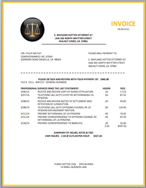 legal attorney invoice template word templates