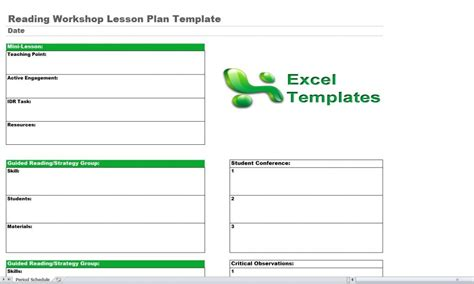 reading workshop lesson plan template reading lesson plan template reading workshop lesson