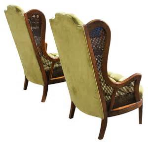 Antique High Back Armchair Pair Vintage Lewittes Cane Amp Velvet Wingback Chairs Ebay
