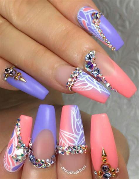 Rhinestone Nail by Purple Pink Rhinestone Nails Design Nailart Jonnydieppham