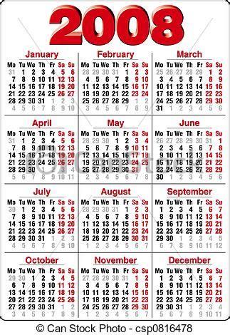 Calendario Ano 2008 Stock De Ilustraciones De Calendario Exacto Calendario