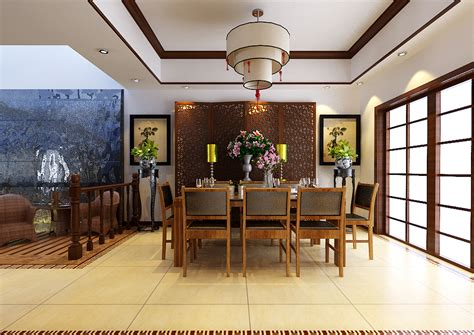 chinese style dining room fully decorated  model max