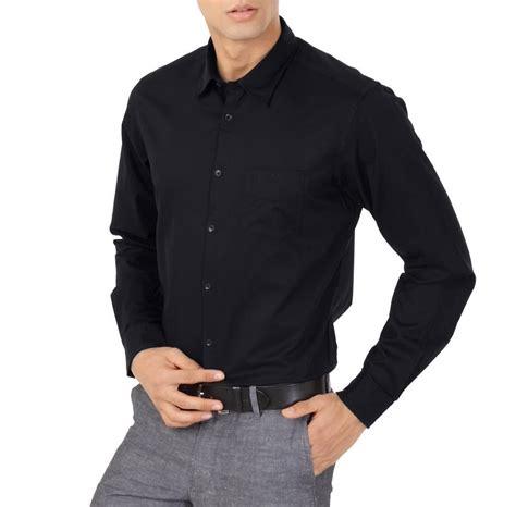 Kemeja Slim Fit Miller Black kemeja pria hitam black slim fit lengan panjang kantor pesta formal must muss