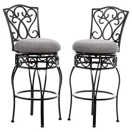 Metal And Fabric Bar Stools by Classic Scroll Black Metal Curved Back Swivel Bar Stools