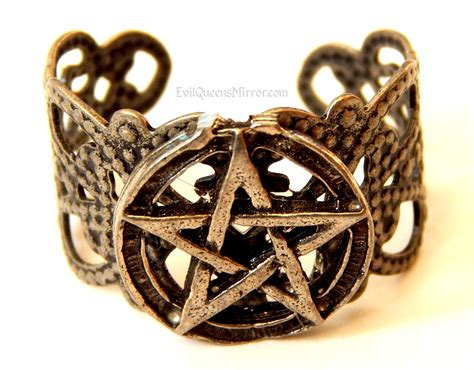 pentacle ring wiccan jewelry pewter pentagram wicca
