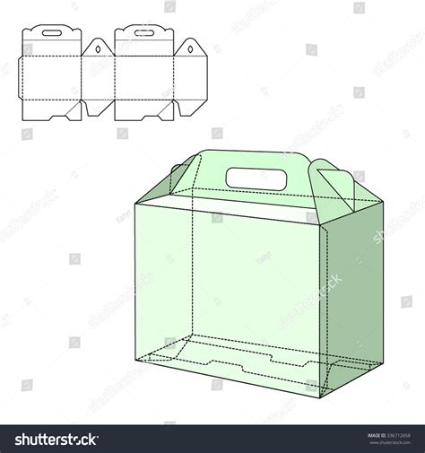handle box template vector illustration gift craft box design stock vector