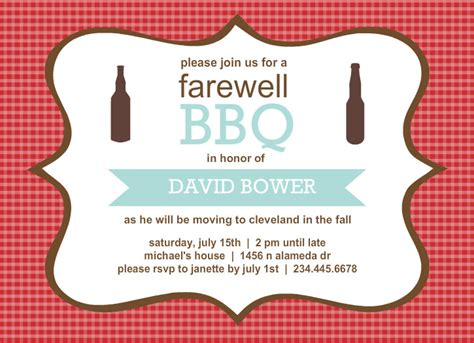 going away invitations template best template collection