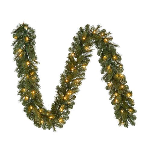 sears outdoor lighted christmas garland 9 ft pre lit led wesley pine garland x 170 tips with 60 ul in indoor outdoor warm white