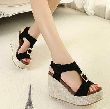 black gesper wedges kawaii shop