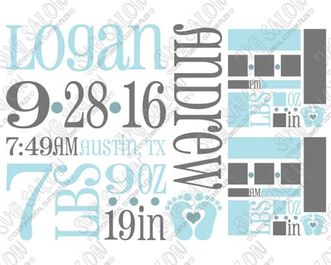 Baby Boy Birth Announcement Template Svg Cut File Set Baby Boy Birth Announcement Template