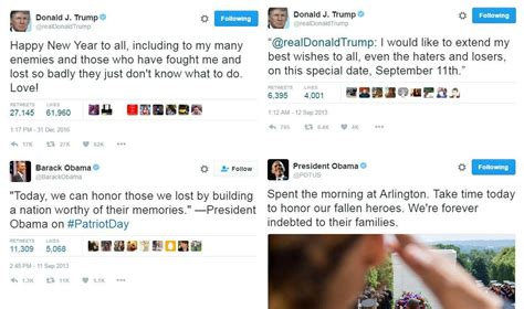 donald trump recent tweets how donald trump and president obama wished you a happy