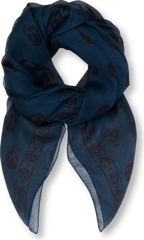 mcqueen chiffon skull scarf in blue for