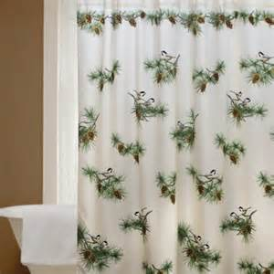 chickadee and pine cone shower curtain log homes decor