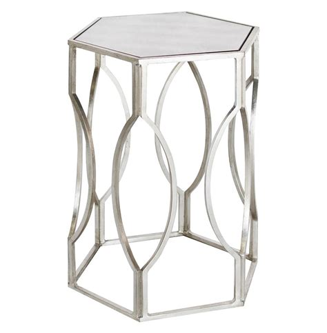 white and silver side table belafonte regency silver antique mirror hexagon