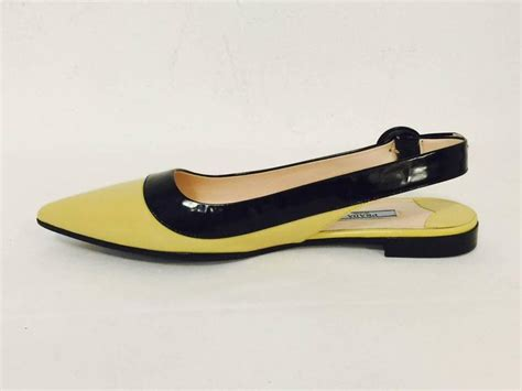 Etro Yellow Bow Flats by Prada Black And Lemon Color Blocked Patent Low Heel
