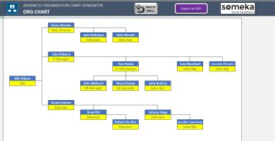 Automatic Org Chart Generator Advanced Version Excel Template Organization Chart Template Excel