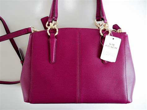 Coach Mini Christie Satchel Pink Fuschia Tas Coach Original nwt coach 36704 fuchsia crossgrain leather mini christie