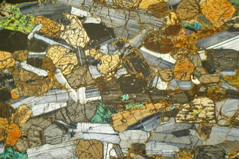 Layered Hypersthene Gabbro Scotland Thin Section