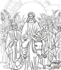 coloring page jesus rides into jerusalem jesus entry into jerusalem coloring page free printable