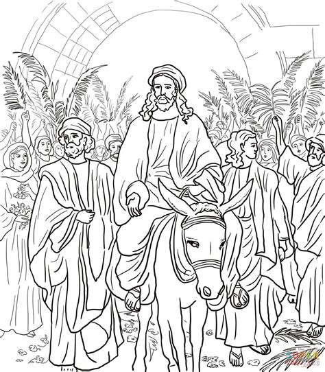 jesus entry into jerusalem super coloring