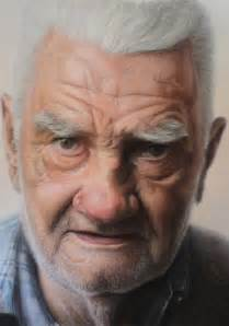 detail pic mixed media portrait of my grandfather by
