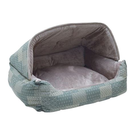 dog bed with hood k h pet products lounge sleeper medium teal patchwork