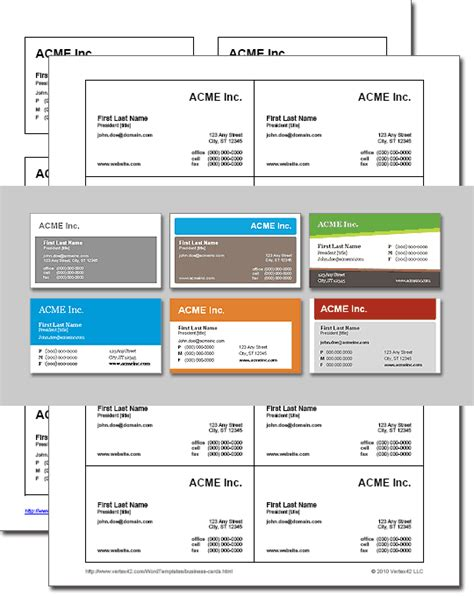 Business Card Template Excel by Business Card Templates For Word Free And