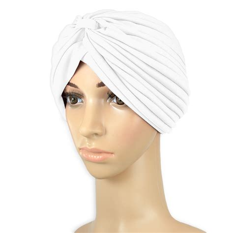 hats with attached bangs turbans with bangs attached white full head turban