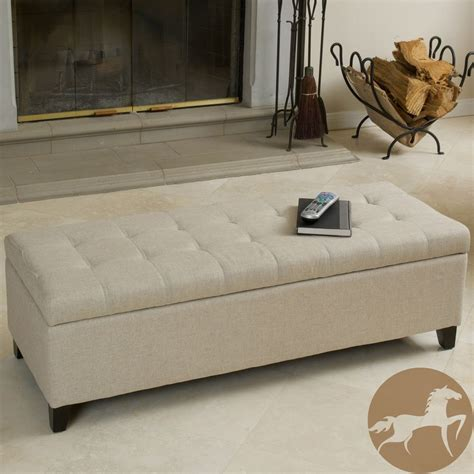 storage ottoman overstock christopher home mission beige tufted fabric