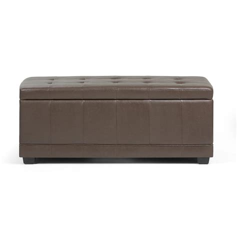 Simpli Home Storage Ottoman Simpli Home Westchester Chocolate Brown Storage Ottoman Bench 3axcot 246 Cbr The Home Depot