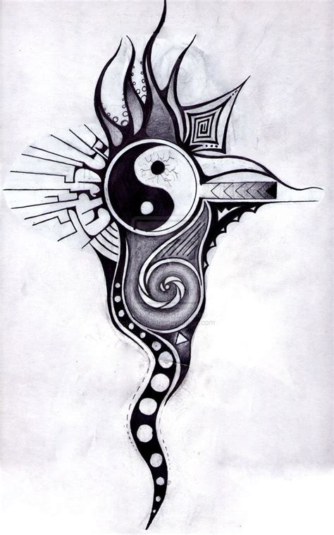yin yang tribal tattoo black tribal and yin yang design