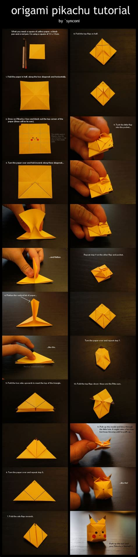 How To Make A Pikachu Origami - how to make your own origami pikachu designtaxi