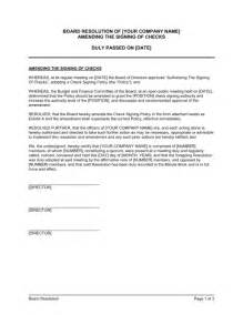 corporate resolution authorized signers template board resolution amending the signing of checks template