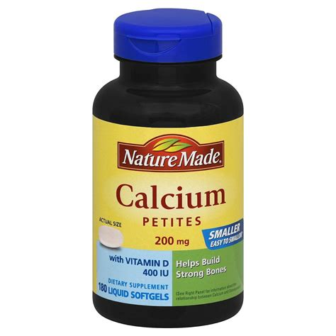 Vitamin Natur E nature made calcium petites 200 mg with vitamin d 180 softgels shop your way shopping