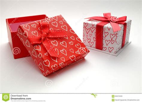 Decorative Gifts Two Decorative Gift Boxes With Hearts Printed Isolated