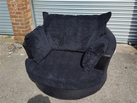 Brand New Black Cord Very Large 127cm Swivel Cuddle Love Black Swivel Cuddle Chair