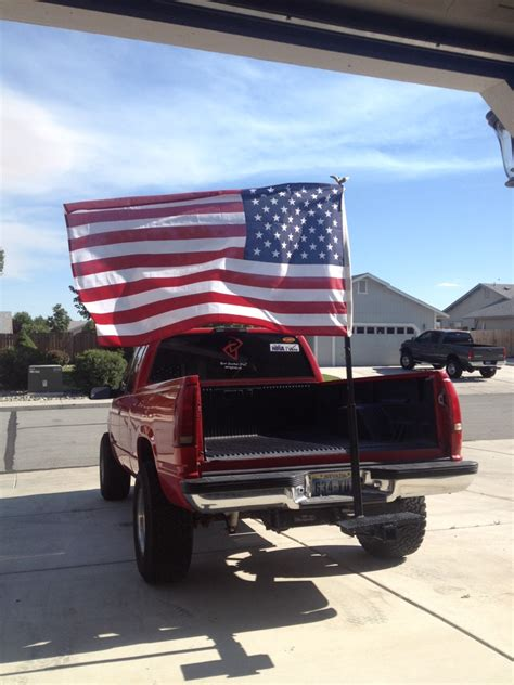 truck bed flag update first flag pole wasn t strong enough made a