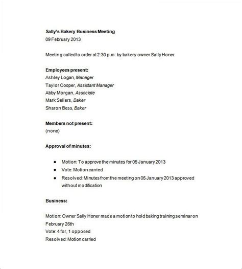 business meeting minutes template 13 free sle