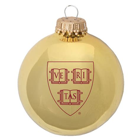 harvard glass ball glossy gold veritas ornament