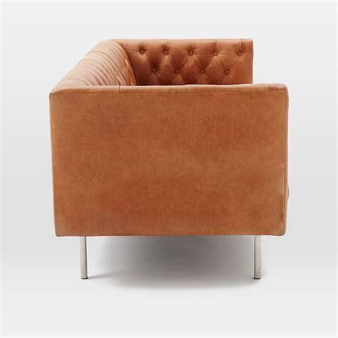 cream leather chesterfield sofa modern chesterfield leather sofa west elm