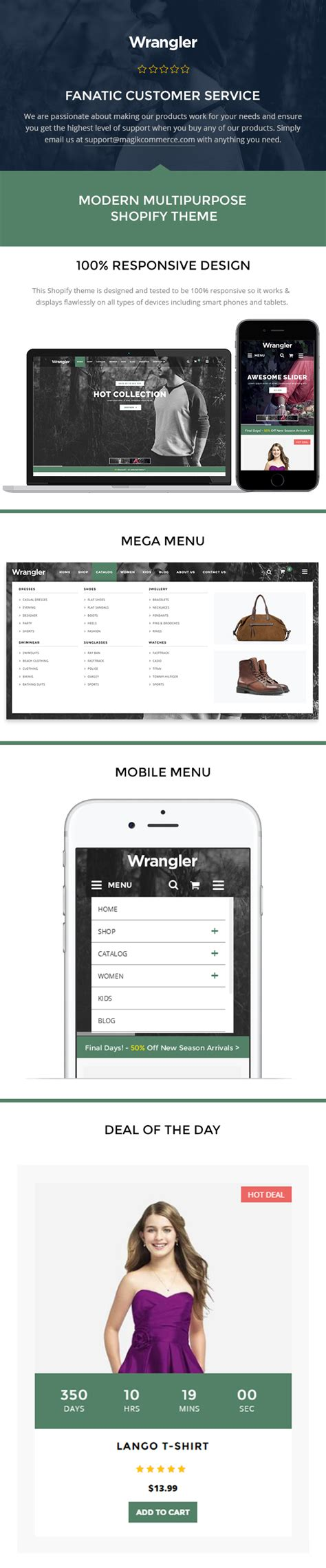 Wrangler Fashion Store Shopify Theme Template By Magikcommerce Themeforest Shopify Gallery Page Template